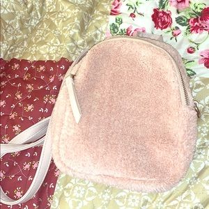 Pink fluffy backpack